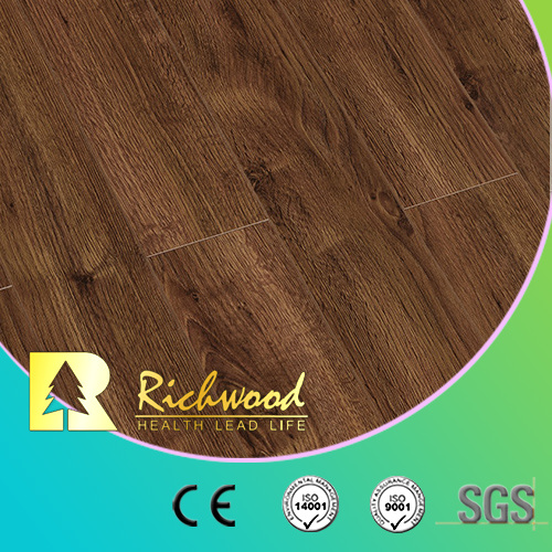 Wholesale 12.3mm E0 AC4 Walnut V-Grooved Waterproof Laminate Wooden Flooring