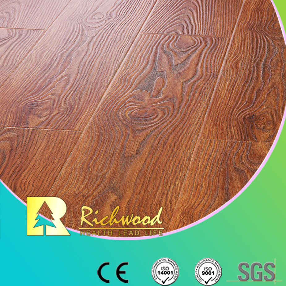 Household 12.3mm E0 HDF AC4 Embossed Elm U-Grooved Laminate Floor