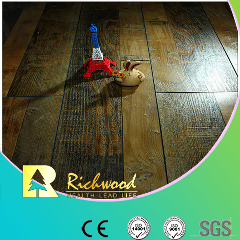 Commercial 12.3mm HDF AC4 Hand Scraped V-Grooved Laminate Flooring